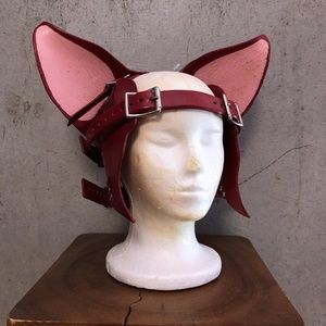 Eirik Maribaal leather fox cat ears head harness